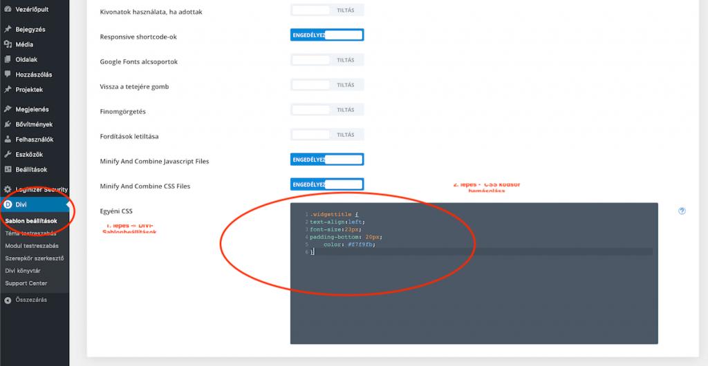DIVI CSS egyéni sidebar stílus